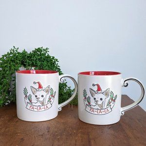 NWOT Set 2 Chihuahua Dog Fa-La-La Christmas Mugs